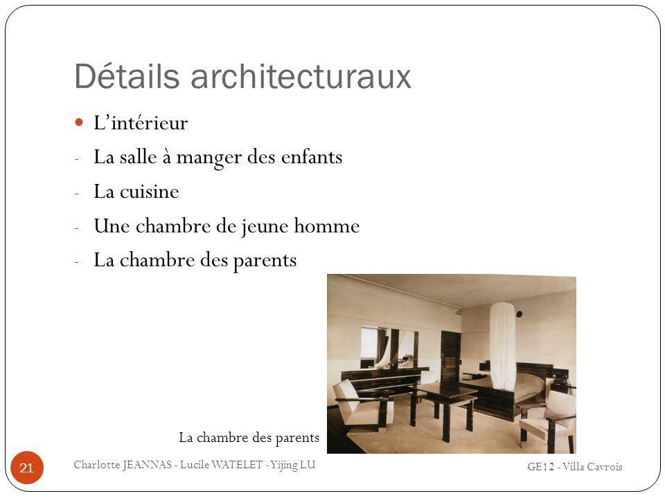 Détails architecturaux Lintérieur - La salle à manger des enfants - La cuisine - Une chambre de jeune homme - La chambre des parents 21 Charlotte JEAN