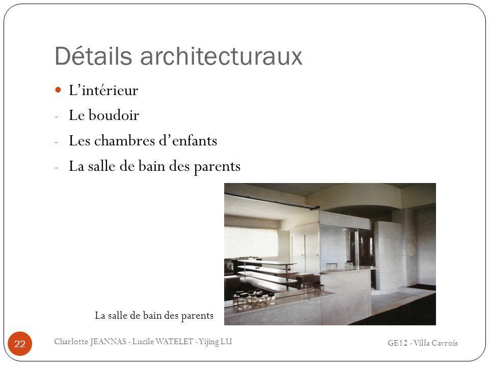 Détails architecturaux Lintérieur - Le boudoir - Les chambres denfants - La salle de bain des parents 22 Charlotte JEANNAS - Lucile WATELET - Yijing L