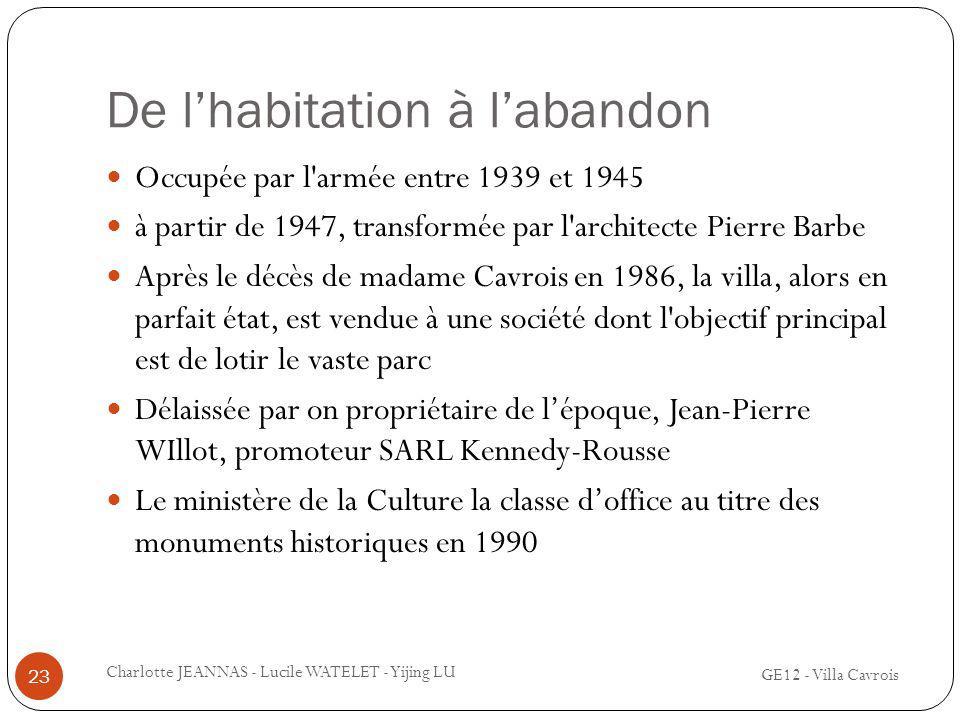 De lhabitation à labandon Occupée par l'armée entre 1939 et 1945 à partir de 1947, transformée par l'architecte Pierre Barbe Après le décès de madame