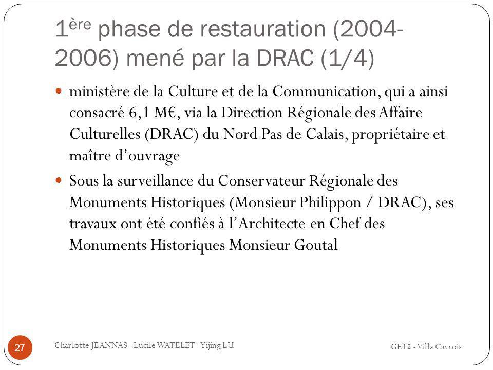 1 ère phase de restauration (2004- 2006) mené par la DRAC (1/4) ministère de la Culture et de la Communication, qui a ainsi consacré 6,1 M, via la Dir