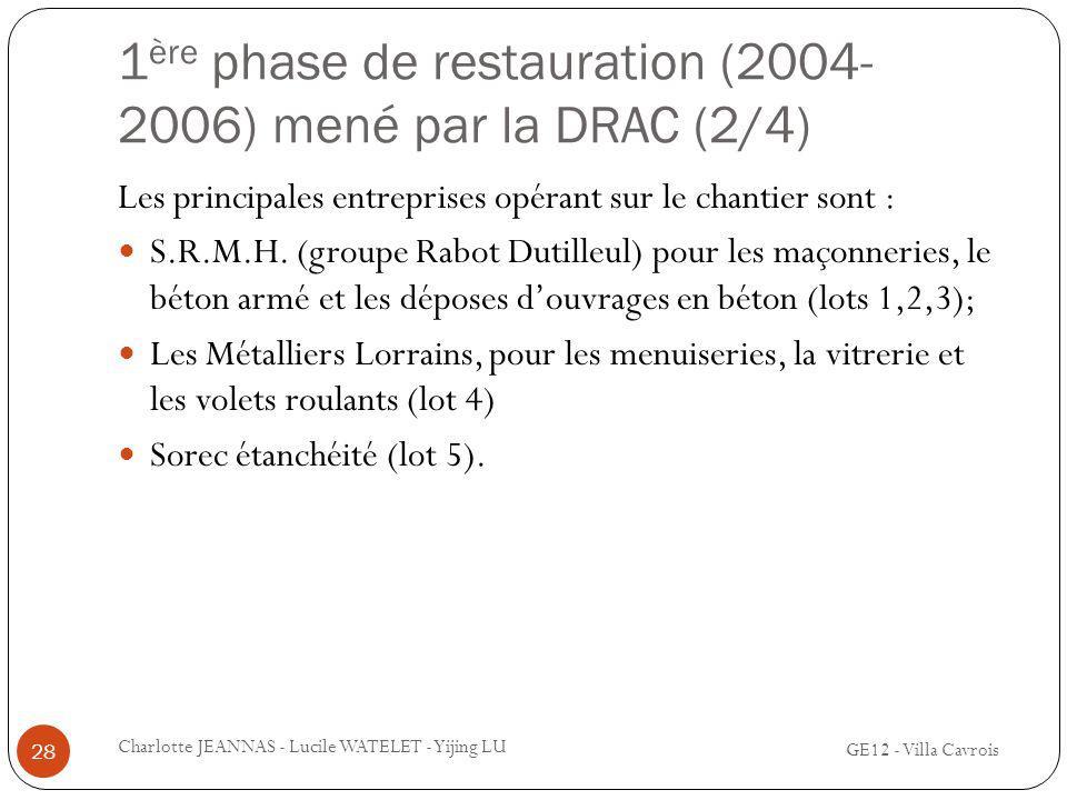 1 ère phase de restauration (2004- 2006) mené par la DRAC (2/4) Les principales entreprises opérant sur le chantier sont : S.R.M.H. (groupe Rabot Duti