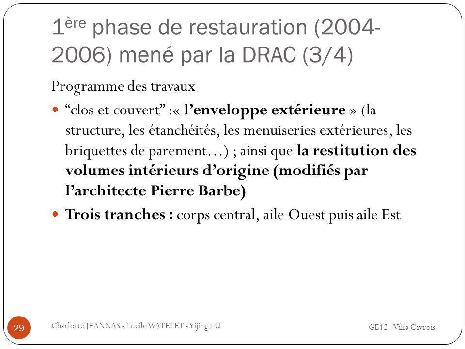 1 ère phase de restauration (2004- 2006) mené par la DRAC (3/4) GE12 - Villa Cavrois Charlotte JEANNAS - Lucile WATELET - Yijing LU 29 Programme des t