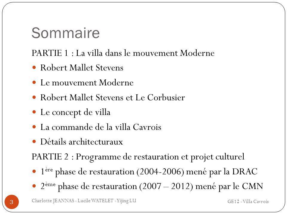 Sommaire PARTIE 1 : La villa dans le mouvement Moderne Robert Mallet Stevens Le mouvement Moderne Robert Mallet Stevens et Le Corbusier Le concept de