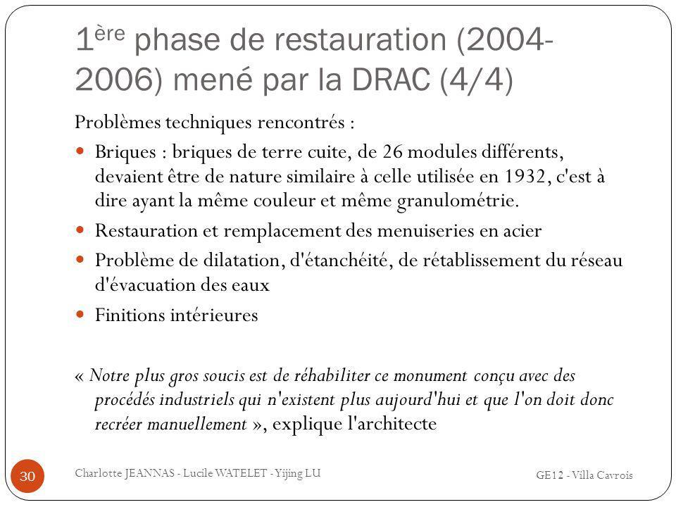 1 ère phase de restauration (2004- 2006) mené par la DRAC (4/4) GE12 - Villa Cavrois Charlotte JEANNAS - Lucile WATELET - Yijing LU 30 Problèmes techn