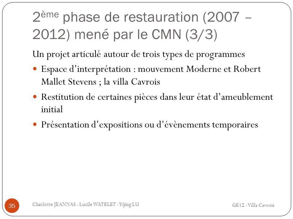2 ème phase de restauration (2007 – 2012) mené par le CMN (3/3) GE12 - Villa Cavrois Charlotte JEANNAS - Lucile WATELET - Yijing LU 35 Un projet artic