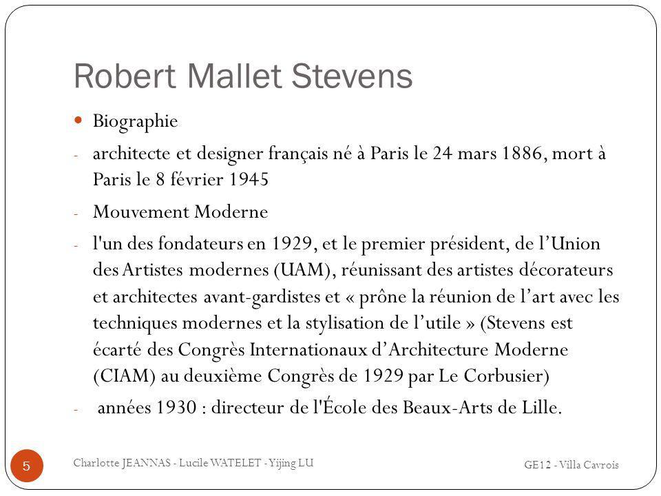 Robert Mallet Stevens Biographie - architecte et designer français né à Paris le 24 mars 1886, mort à Paris le 8 février 1945 - Mouvement Moderne - l'