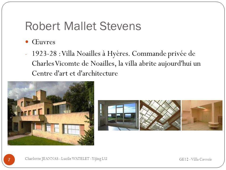 Robert Mallet Stevens Œuvres - 1923-28 : Villa Noailles à Hyères. Commande privée de Charles Vicomte de Noailles, la villa abrite aujourd'hui un Centr