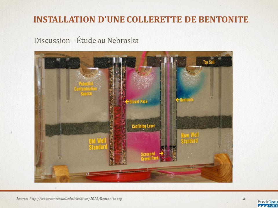 INSTALLATION DUNE COLLERETTE DE BENTONITE Discussion – Étude au Nebraska 15 Source: http://watercenter.unl.edu/Archives/2013/Bentonite.asp