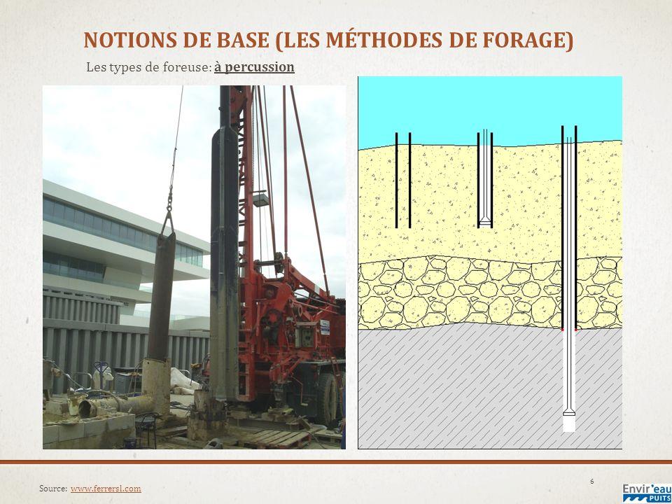NOTIONS DE BASE (LES MÉTHODES DE FORAGE) Les types de foreuse: à rotation 7 Source: Simon Huard, Envireau Puits inc.