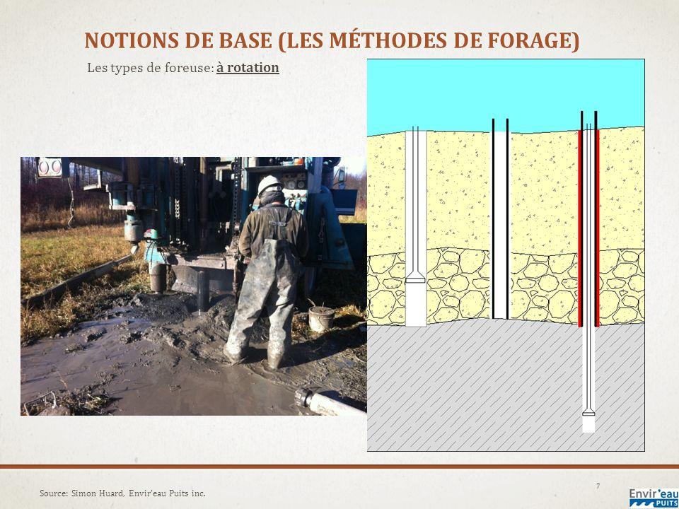 NOTIONS DE BASE (LES MÉTHODES DE FORAGE) Les types de foreuse: à double rotation 8 Source: www.foremost.ca