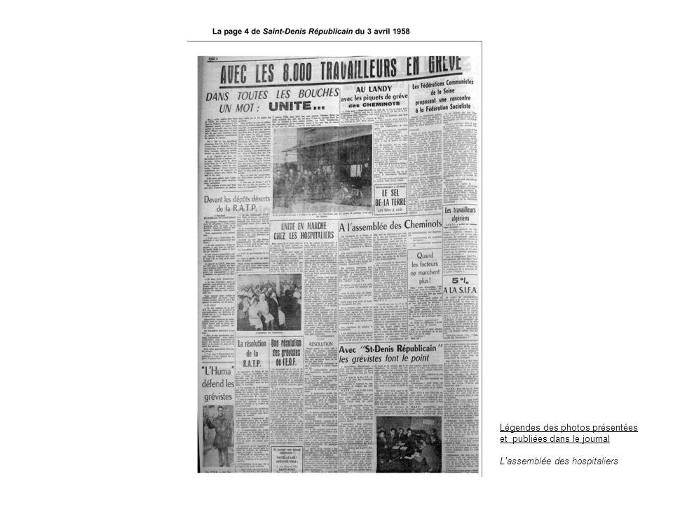 Légendes des photos présentées et publiées dans le journal L'assemblée des hospitaliers