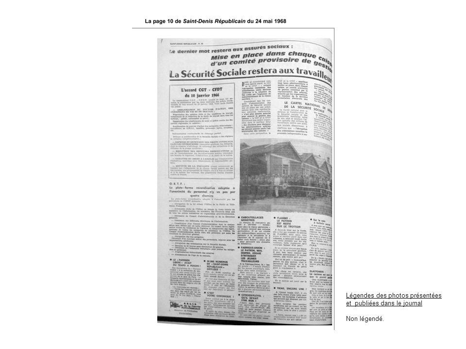 Légendes des photos présentées et publiées dans le journal Non légendé.