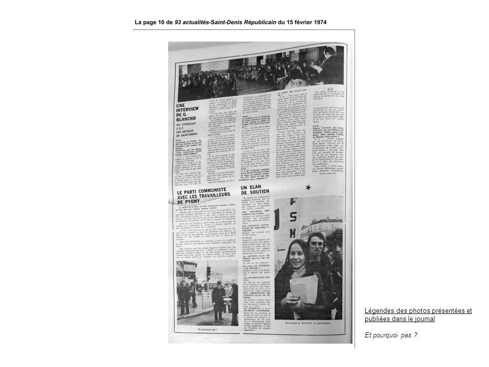 Légendes des photos présentées et publiées dans le journal Et pourquoi pas ?