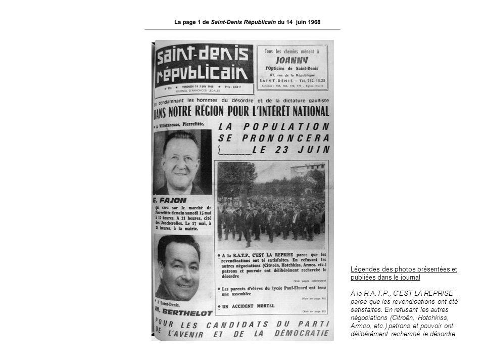 Légendes des photos présentées et publiées dans le journal A la R.A.T.P., C'EST LA REPRISE parce que les revendications ont été satisfaites. En refusa