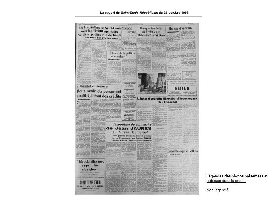 Légendes des photos présentées et publiées dans le journal Non légendé