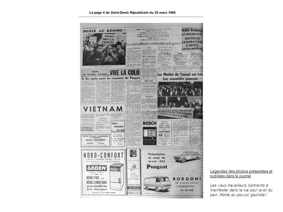 Légendes des photos présentées et publiées dans le journal Les vieux travailleurs contraints à manifester dans la rue pour avoir du pain. Honte au pou
