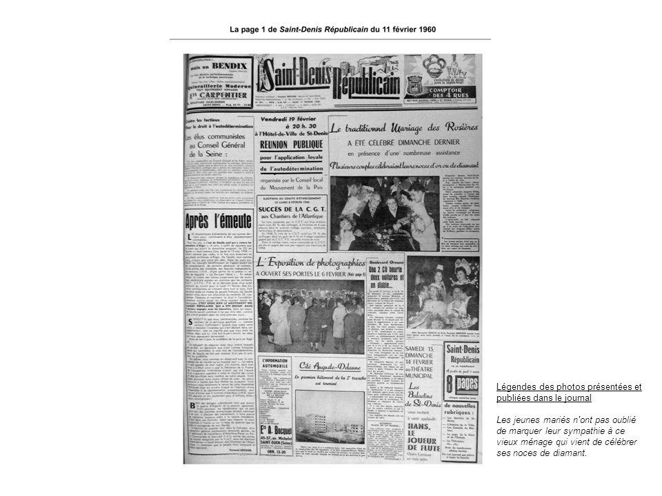 Légendes des photos présentées et publiées dans le journal Les jeunes mariés n'ont pas oublié de marquer leur sympathie à ce vieux ménage qui vient de
