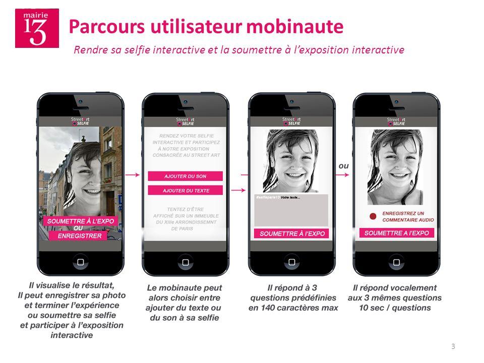 13 Parcours utilisateur mobinaute Rendre sa selfie interactive et la soumettre à lexposition interactive