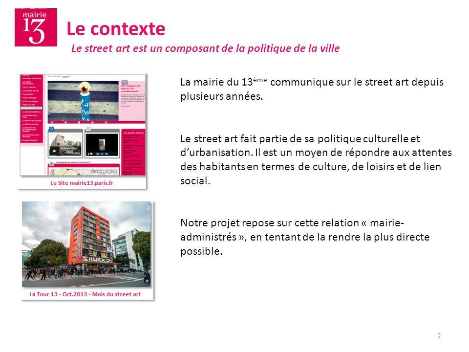 Le contexte La mairie du 13 ème communique sur le street art depuis plusieurs années. Le street art fait partie de sa politique culturelle et durbanis