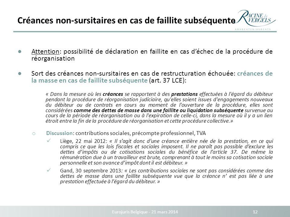 Créances non-sursitaires en cas de faillite subséquente Eurojuris Belgique - 21 mars 2014 12 Attention: possibilité de déclaration en faillite en cas