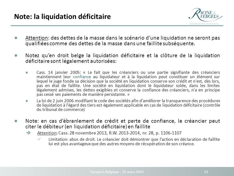 Note: la liquidation déficitaire Eurojuris Belgique - 21 mars 2014 13 Attention: des dettes de la masse dans le scénario dune liquidation ne seront pa