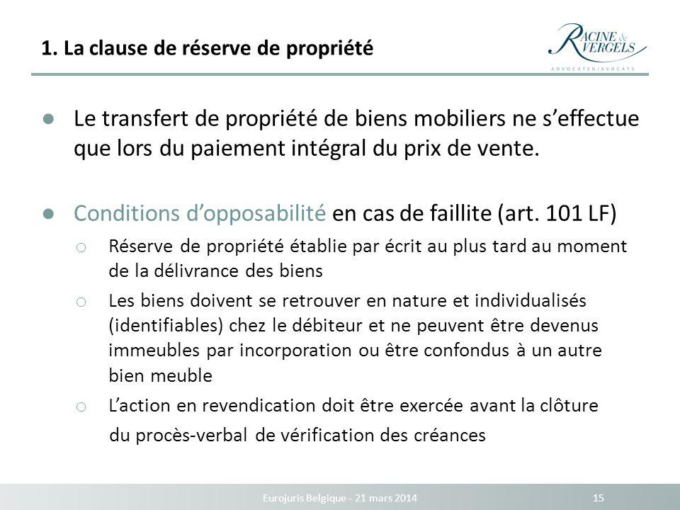 1. La clause de réserve de propriété Eurojuris Belgique - 21 mars 2014 15 Le transfert de propriété de biens mobiliers ne seffectue que lors du paieme