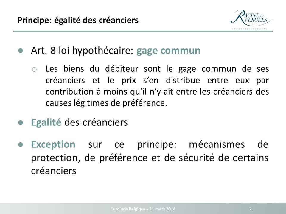 Principe: égalité des créanciers Eurojuris Belgique - 21 mars 2014 2 Art. 8 loi hypothécaire: gage commun o Les biens du débiteur sont le gage commun
