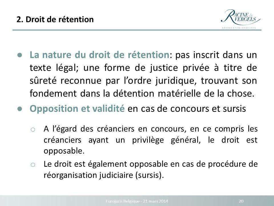 2. Droit de rétention Eurojuris Belgique - 21 mars 2014 20 La nature du droit de rétention: pas inscrit dans un texte légal; une forme de justice priv