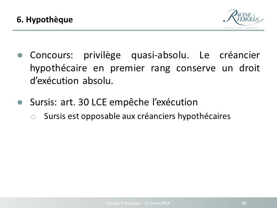 6. Hypothèque Eurojuris Belgique - 21 mars 2014 28 Concours: privilège quasi-absolu. Le créancier hypothécaire en premier rang conserve un droit dexéc