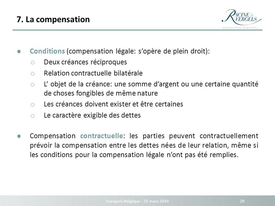 7. La compensation Eurojuris Belgique - 21 mars 2014 29 Conditions (compensation légale: sopère de plein droit): o Deux créances réciproques o Relatio