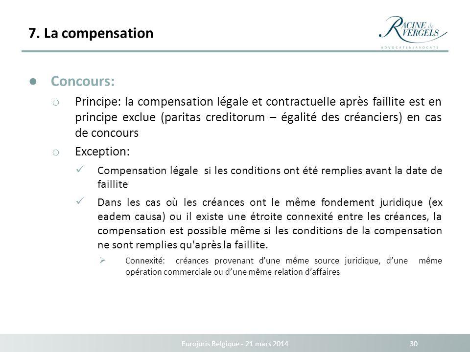 7. La compensation Eurojuris Belgique - 21 mars 2014 30 Concours: o Principe: la compensation légale et contractuelle après faillite est en principe e
