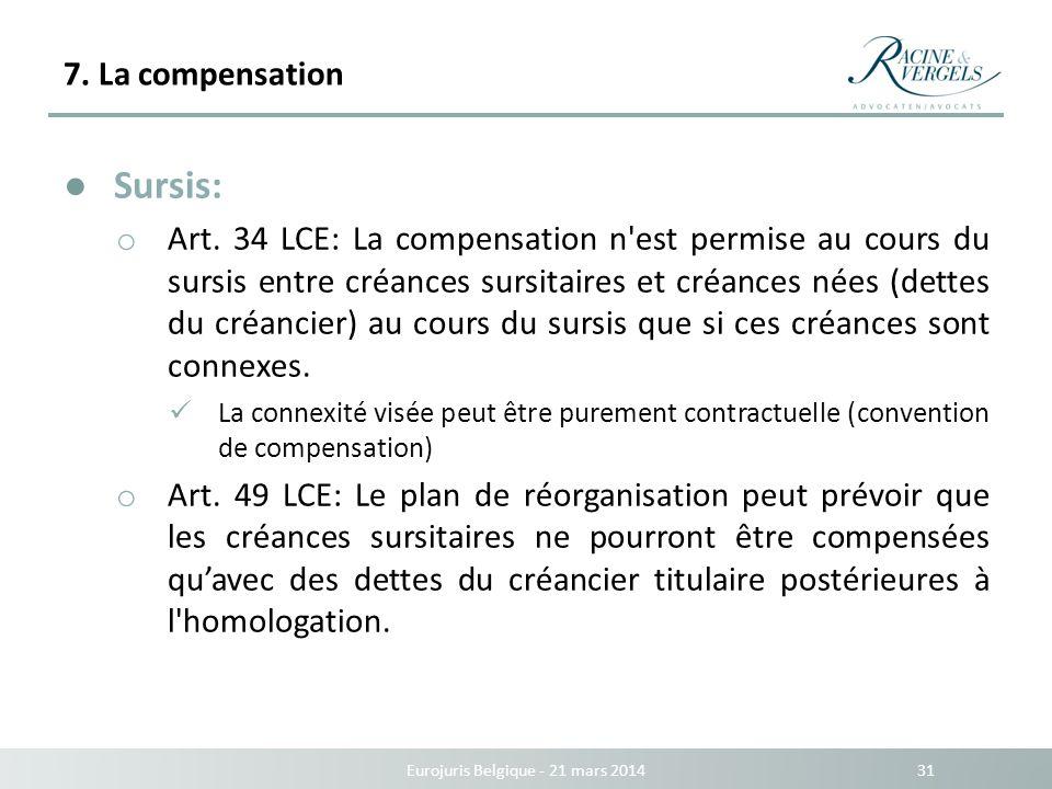 7. La compensation Eurojuris Belgique - 21 mars 2014 31 Sursis: o Art. 34 LCE: La compensation n'est permise au cours du sursis entre créances sursita