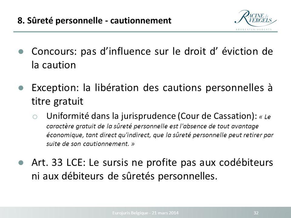 8. Sûreté personnelle - cautionnement Eurojuris Belgique - 21 mars 2014 32 Concours: pas dinfluence sur le droit d éviction de la caution Exception: l