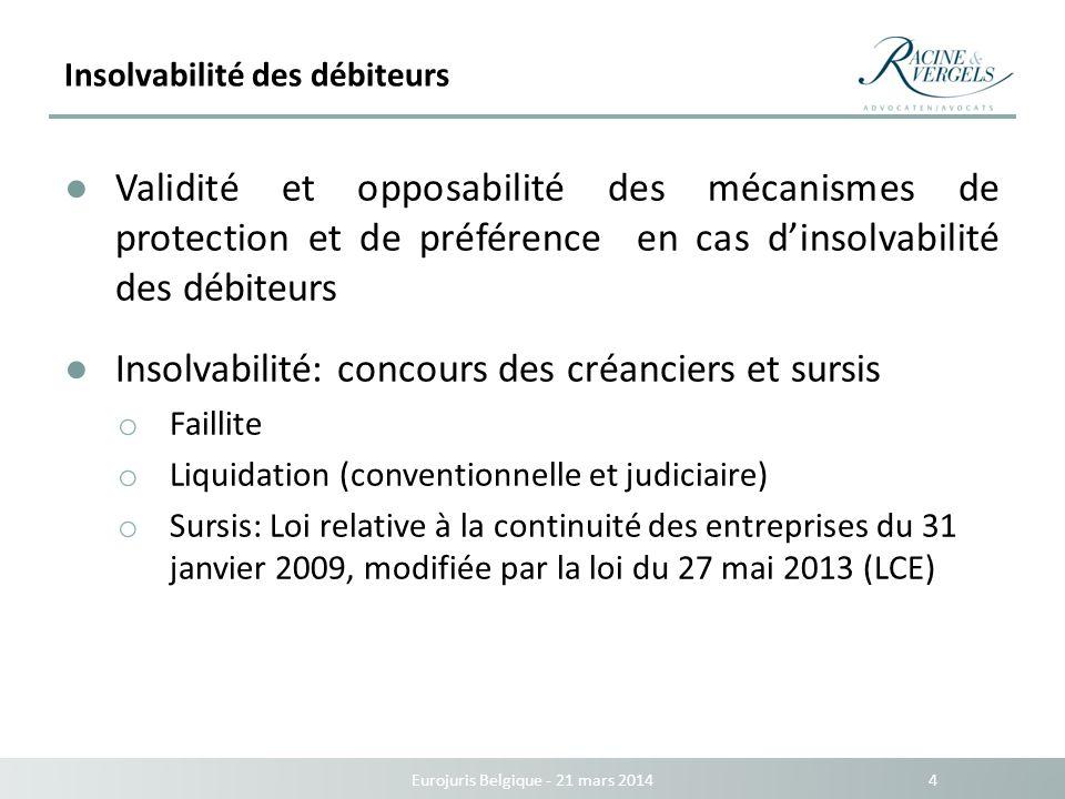 Insolvabilité des débiteurs Eurojuris Belgique - 21 mars 2014 4 Validité et opposabilité des mécanismes de protection et de préférence en cas dinsolva