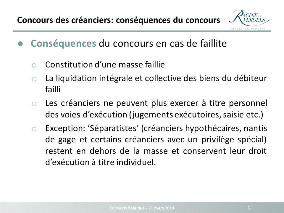 Concours des créanciers: conséquences du concours Eurojuris Belgique - 21 mars 2014 5 Conséquences du concours en cas de faillite o Constitution dune