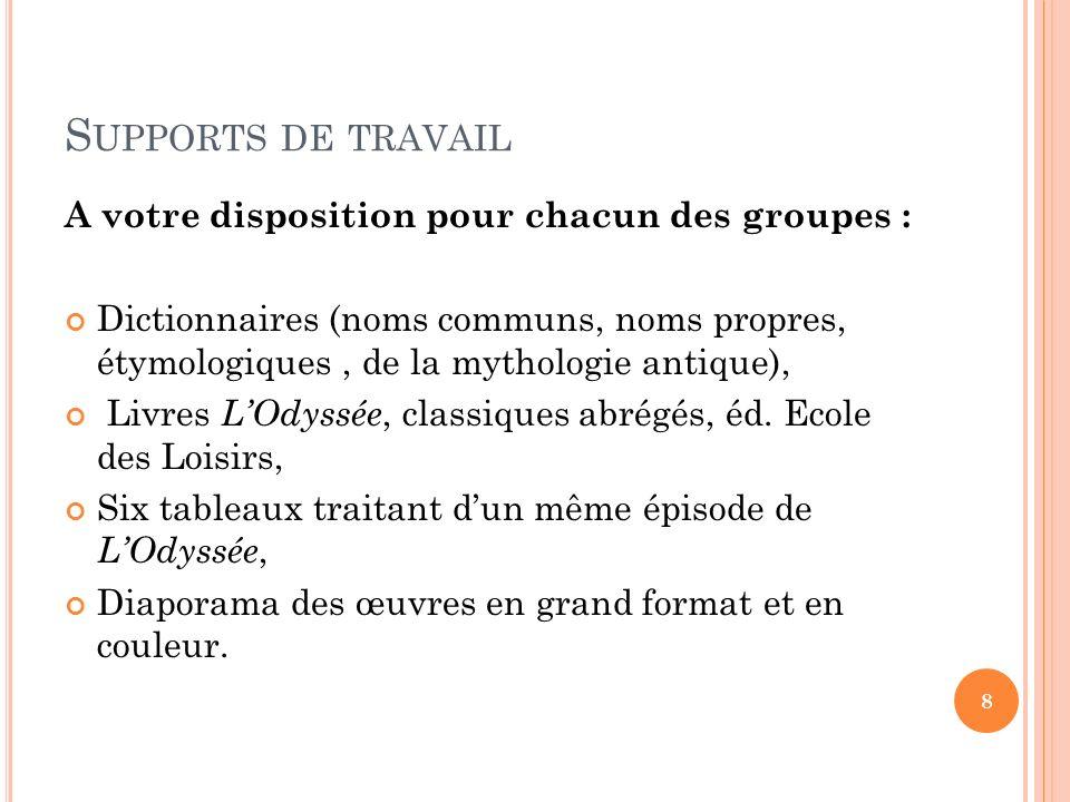 S UPPORTS DE TRAVAIL A votre disposition pour chacun des groupes : Dictionnaires (noms communs, noms propres, étymologiques, de la mythologie antique)