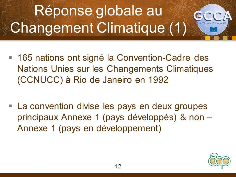 Réponse globale au Changement Climatique (1) 165 nations ont signé la Convention-Cadre des Nations Unies sur les Changements Climatiques (CCNUCC) à Rio de Janeiro en 1992 La convention divise les pays en deux groupes principaux Annexe 1 (pays développés) & non – Annexe 1 (pays en développement) 12