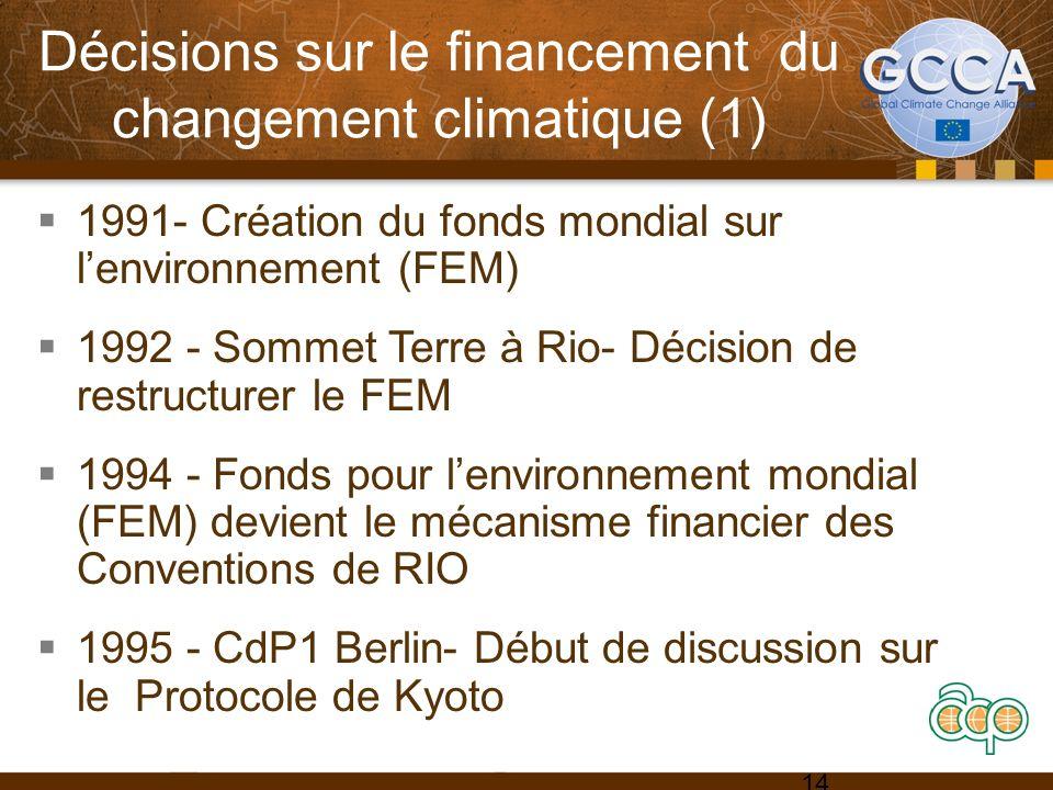 Décisions sur le financement du changement climatique (1) 1991- Création du fonds mondial sur lenvironnement (FEM) 1992 - Sommet Terre à Rio- Décision de restructurer le FEM 1994 - Fonds pour lenvironnement mondial (FEM) devient le mécanisme financier des Conventions de RIO 1995 - CdP1 Berlin- Début de discussion sur le Protocole de Kyoto 14