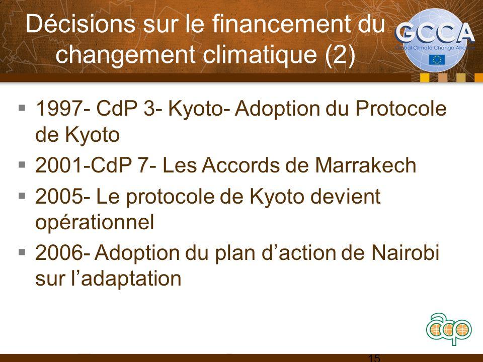 Décisions sur le financement du changement climatique (2) 1997- CdP 3- Kyoto- Adoption du Protocole de Kyoto 2001-CdP 7- Les Accords de Marrakech 2005- Le protocole de Kyoto devient opérationnel 2006- Adoption du plan daction de Nairobi sur ladaptation 15