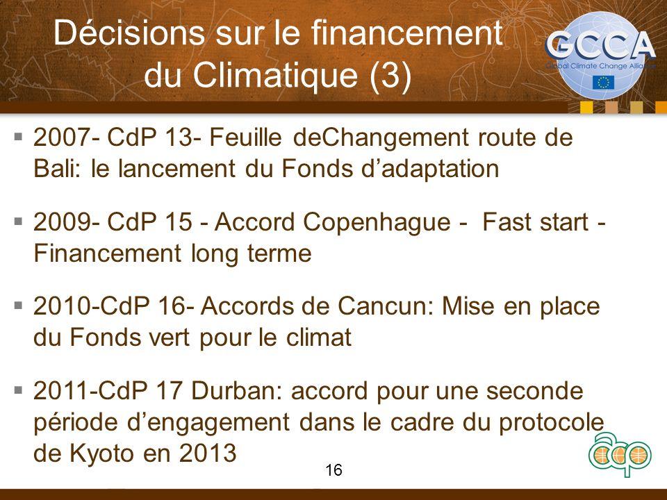 Décisions sur le financement du Climatique (3) 2007- CdP 13- Feuille deChangement route de Bali: le lancement du Fonds dadaptation 2009- CdP 15 - Accord Copenhague - Fast start - Financement long terme 2010-CdP 16- Accords de Cancun: Mise en place du Fonds vert pour le climat 2011-CdP 17 Durban: accord pour une seconde période dengagement dans le cadre du protocole de Kyoto en 2013 16