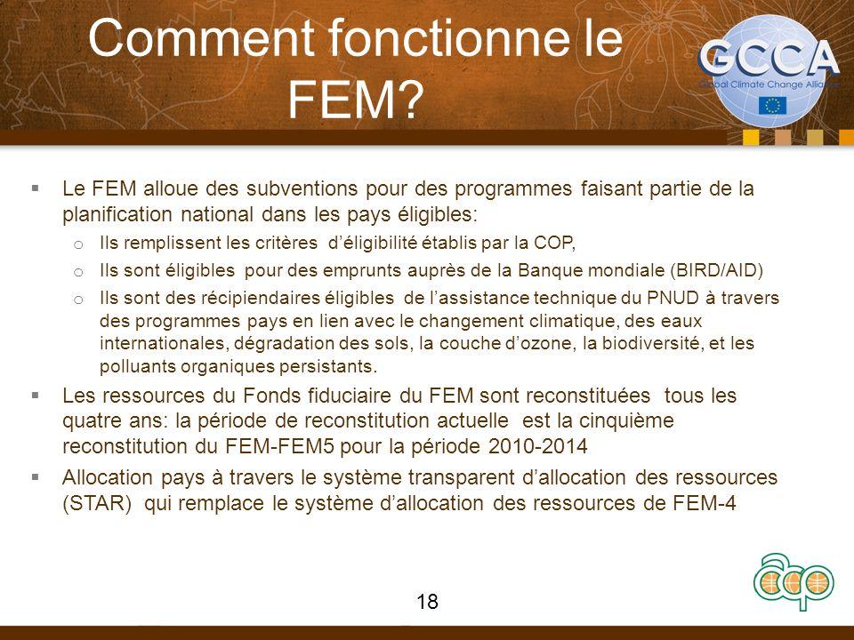 Comment fonctionne le FEM? Le FEM alloue des subventions pour des programmes faisant partie de la planification national dans les pays éligibles: o Il