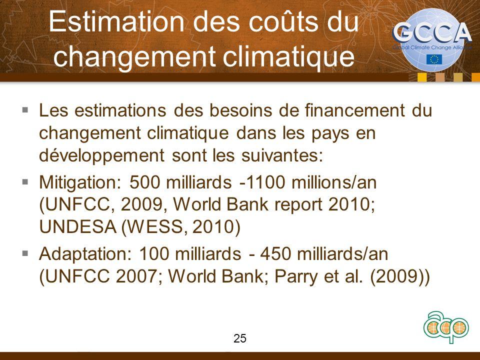 Estimation des coûts du changement climatique Les estimations des besoins de financement du changement climatique dans les pays en développement sont les suivantes: Mitigation: 500 milliards -1100 millions/an (UNFCC, 2009, World Bank report 2010; UNDESA (WESS, 2010) Adaptation: 100 milliards - 450 milliards/an (UNFCC 2007; World Bank; Parry et al.