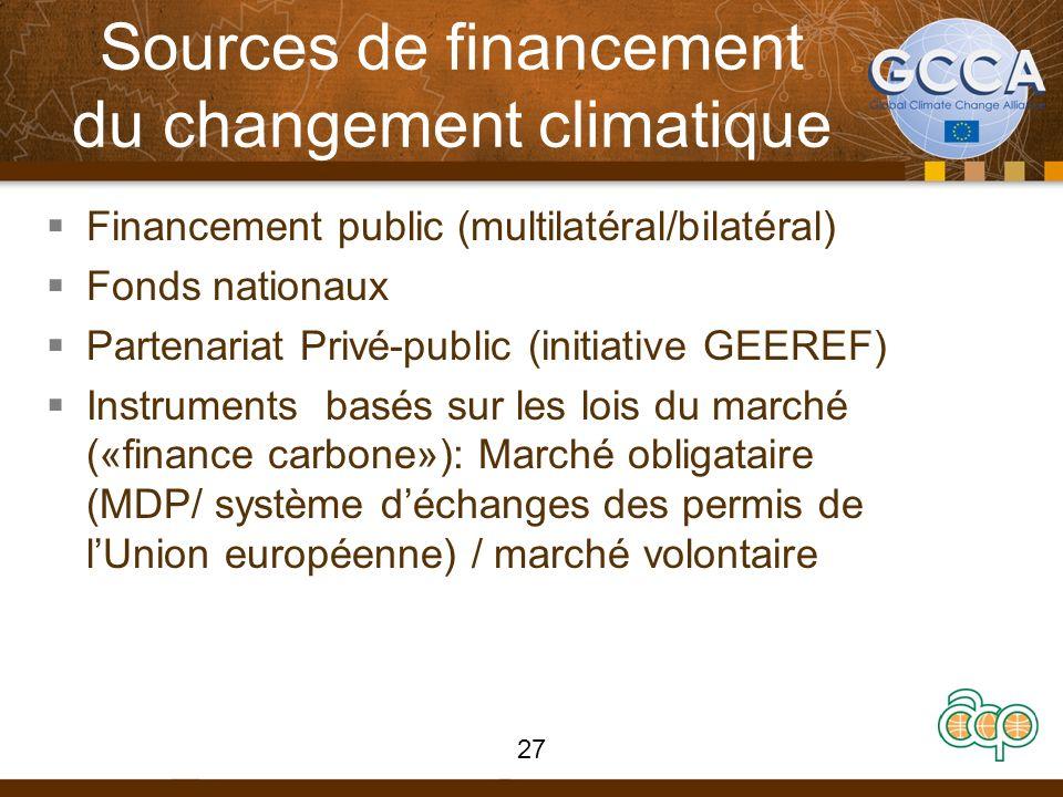 Sources de financement du changement climatique Financement public (multilatéral/bilatéral) Fonds nationaux Partenariat Privé-public (initiative GEEREF) Instruments basés sur les lois du marché («finance carbone»): Marché obligataire (MDP/ système déchanges des permis de lUnion européenne) / marché volontaire 27