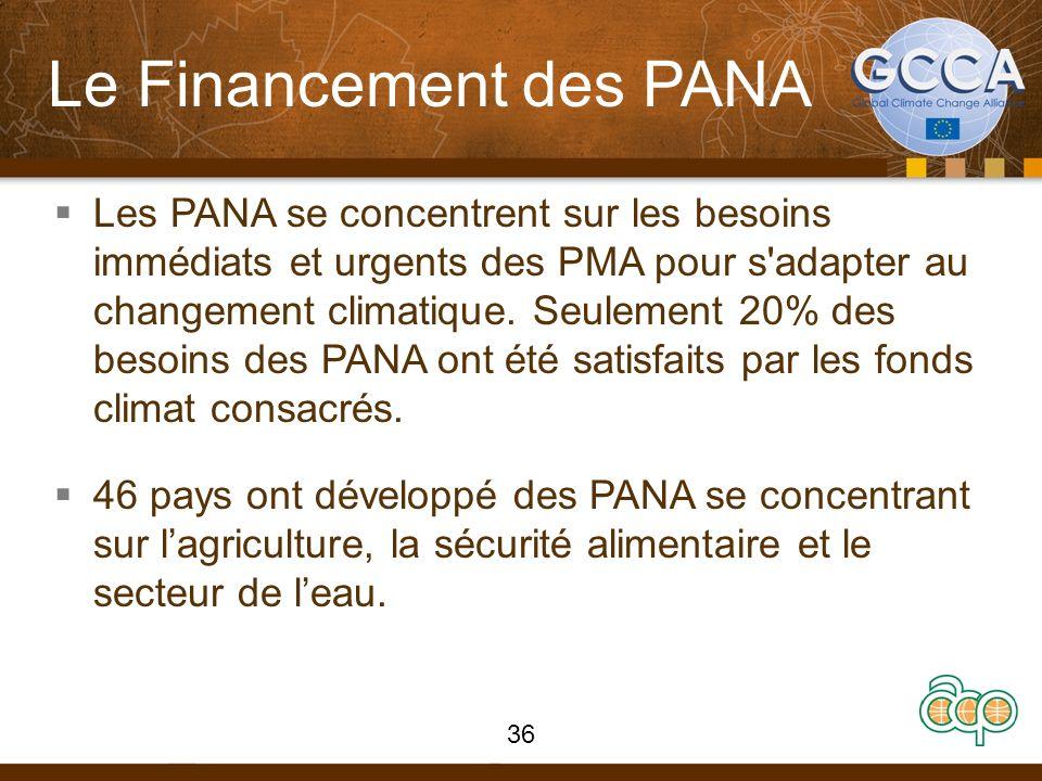 Le Financement des PANA Les PANA se concentrent sur les besoins immédiats et urgents des PMA pour s'adapter au changement climatique. Seulement 20% de