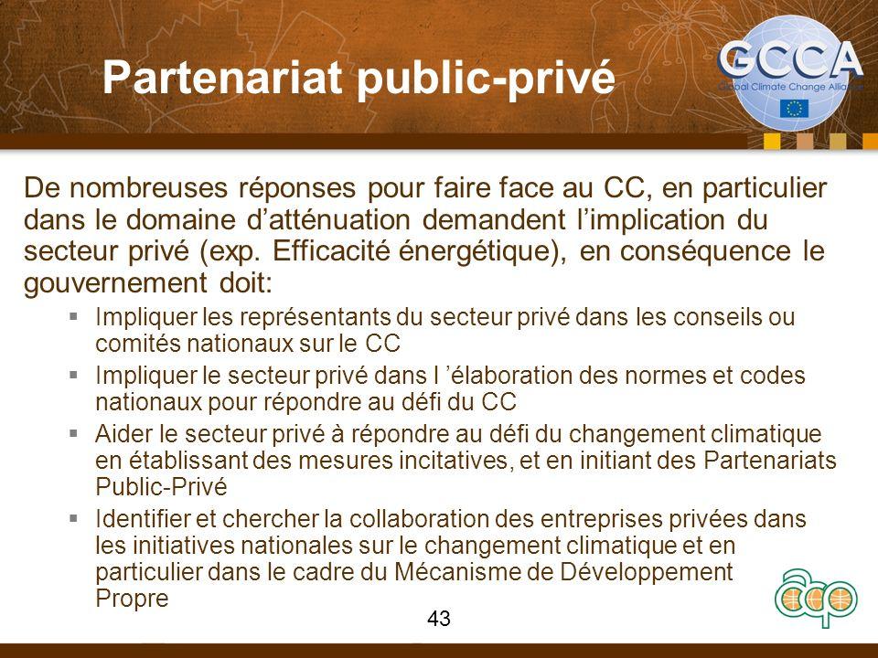 De nombreuses réponses pour faire face au CC, en particulier dans le domaine datténuation demandent limplication du secteur privé (exp. Efficacité éne