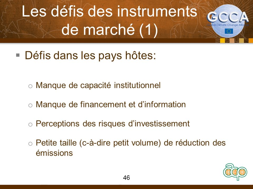 Les défis des instruments de marché (1) Défis dans les pays hôtes: o Manque de capacité institutionnel o Manque de financement et dinformation o Perceptions des risques dinvestissement o Petite taille (c-à-dire petit volume) de réduction des émissions 46