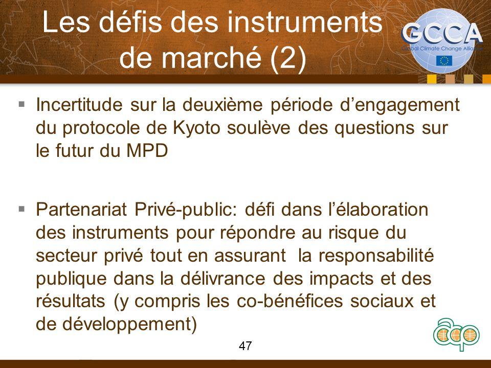 Les défis des instruments de marché (2) Incertitude sur la deuxième période dengagement du protocole de Kyoto soulève des questions sur le futur du MP