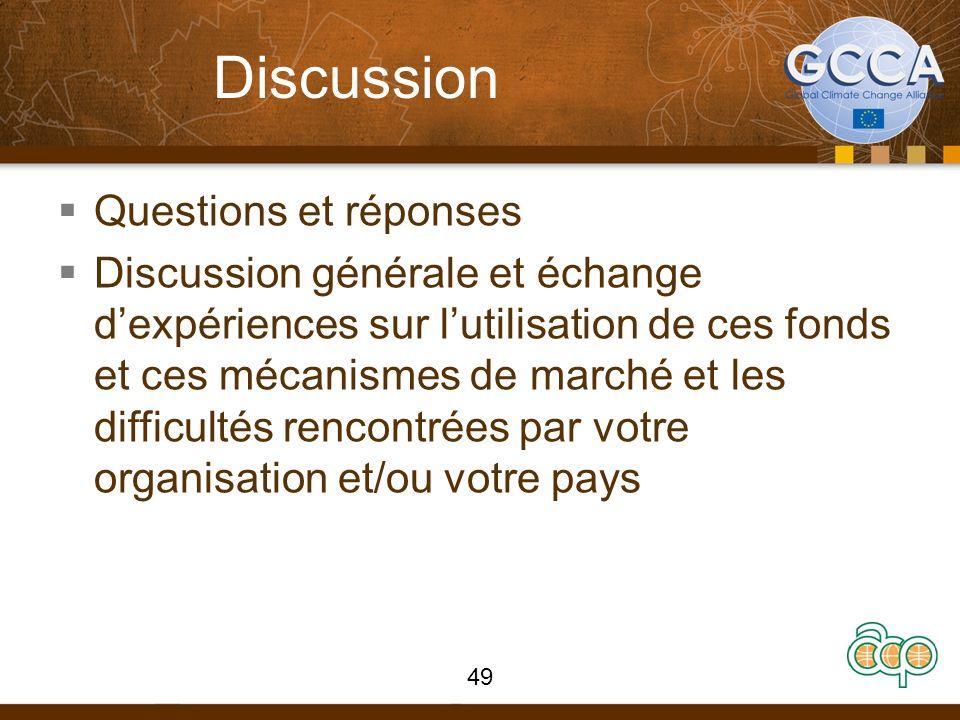 Discussion Questions et réponses Discussion générale et échange dexpériences sur lutilisation de ces fonds et ces mécanismes de marché et les difficultés rencontrées par votre organisation et/ou votre pays 49