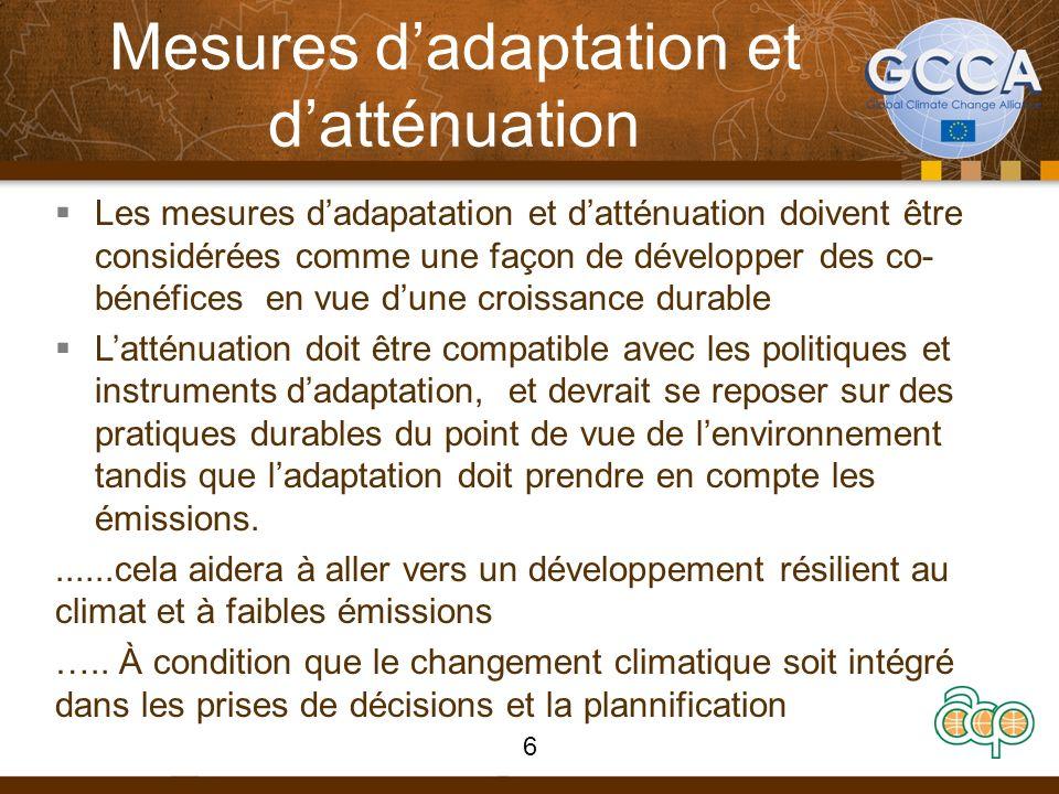 Mesures dadaptation et datténuation Les mesures dadapatation et datténuation doivent être considérées comme une façon de développer des co- bénéfices