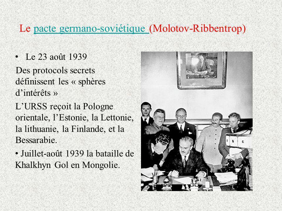 Le pacte germano-soviétique (Molotov-Ribbentrop)pacte germano-soviétique Le 23 août 1939 Des protocols secrets définissent les « sphères dintérêts » LURSS reçoit la Pologne orientale, lEstonie, la Lettonie, la lithuanie, la Finlande, et la Bessarabie.